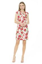 Wren Faux Surplice Sheath - Red Floral - Front