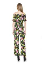 Brea Ots Knit Jumpsuit with Belt - Black Lemon - Back