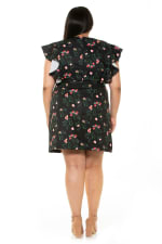 Ada Ruffle Sleeve Wrap Dress With Waist Tie - Plus - Mini Rose - Back