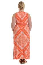 Megan Halter Diamond Print Maxi Dress - Plus - Orange - Back