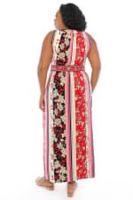 Keyhole Neck Floral Stripe Maxi Dress - White / Red - Back