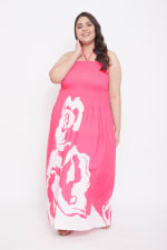 Flora Rose Print Tube Dress - Fuchsia - Front