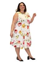 Floral Printed Scuba Dress - Plus - 3