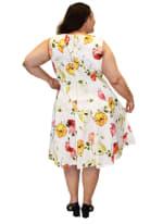 Floral Printed Scuba Dress - Plus - 2
