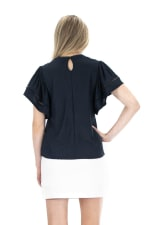 Zac & Rachel Clip Dot Knit Top - Navy Blazer - Back