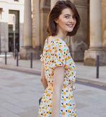 Audrey Drop Shoulder Jewel Neck Elastic Waist Ruffle Dress - 2
