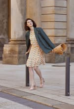 Audrey Drop Shoulder Jewel Neck Elastic Waist Ruffle Dress - 7
