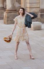 Audrey Drop Shoulder Jewel Neck Elastic Waist Ruffle Dress - 1