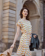 Audrey Drop Shoulder Jewel Neck Elastic Waist Ruffle Dress - 3