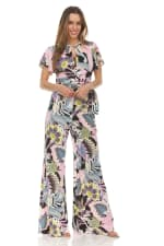 Floral Print Tie Front Blouse With Wide Leg Pant - 3