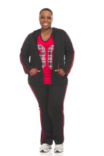 Hoodie Jog Set With Trim On Top And Pant - Plus - 1