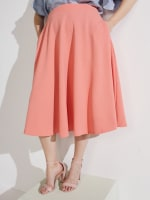 Tasmin Flare Floral Midi Skirts - Plus - Coral - Front