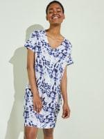 Short Sleeve V-Neck Shift Dress - 4
