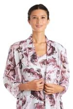 Two Piece Print Yuryu Chiffon with Lurex Jacket Dress - 3