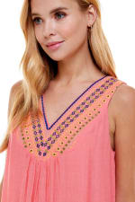 Gauze Embroidery Neck Sundress - Coral - Detail