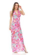 Printed Halter Maxi Dress - 3