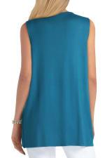 Isaac Mizrahi V-Neck Cotton Pullover Top - Deep Lagoon - Back