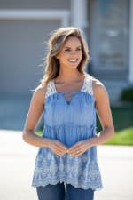 Sleeveless Embroidered Lace Up Blouse - 3