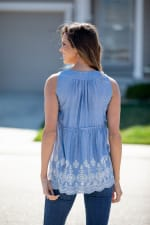 Sleeveless Embroidered Lace Up Blouse - 2