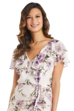 Chiffon Side Rushed Floral Dress - 3