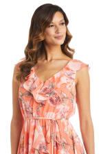 Coral Floral Chiffon Ruffle Wrap Dress - 3