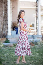Vienna Wine Floral Maxi Dress - 5