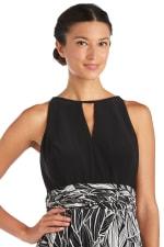 High-Low Floral Print Maxi Dress - Black / Taupe - Detail