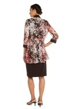 Puff Floral Brown/Peach Print Jacket Dress - 2