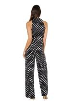 Marina Dresses V-Neck Side Drape Polka Dot Jumpsuit - Black / White - Back
