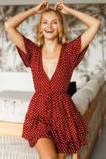 Bonfire Layered Mini Dress - Berry Polka Dot - Front