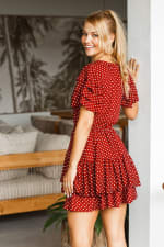 Bonfire Layered Mini Dress - Berry Polka Dot - Back