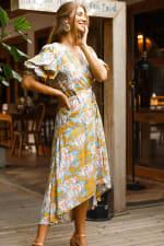 Set Sail Puff Sleeve Wrap Midi Dress - 3