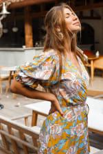 Set Sail Puff Sleeve Wrap Midi Dress - 4