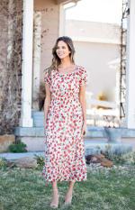 Vienna Poppy Maxi Peasant Dress - 5