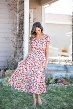 Vienna Poppy Maxi Peasant Dress - 4