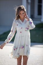 Odessa Ivory Embroidered  Baby Doll Dress - 7