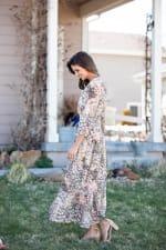 Sydney Neutral Lace Floral Maxi Peasant Dress - 4