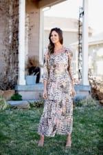 Sydney Neutral Lace Floral Maxi Peasant Dress - 7