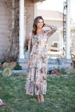Sydney Neutral Lace Floral Maxi Peasant Dress - 5