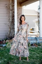 Sydney Neutral Lace Floral Maxi Peasant Dress - 6
