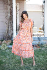 Vienna Coral Floral Maxi Peasant Dress - Misses - Coral - Front
