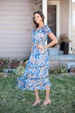 Vienna Blue Floral Maxi Peasant Dress - 6