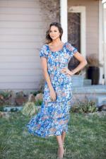 Vienna Blue Floral Maxi Peasant Dress - 5