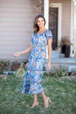 Vienna Blue Floral Maxi Peasant Dress - 7