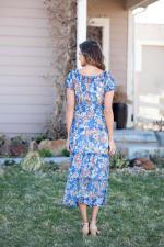 Vienna Blue Floral Maxi Peasant Dress - 2