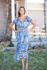 Vienna Blue Floral Maxi Peasant Dress - 4