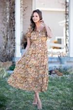 Vienna Buttercup Maxi Peasant Dress - 7