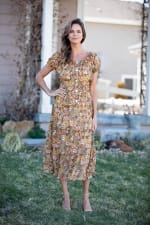 Vienna Buttercup Maxi Peasant Dress - 5