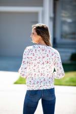 V Neck Floral Smocked Shoulder Blouse - Misses - 2