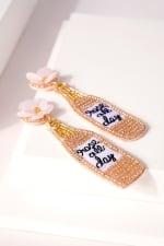 Wine Bottle Seed Beaded Earrings - 2